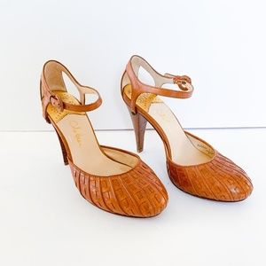 Cole Haan Tan Mary Jane Leather Heels